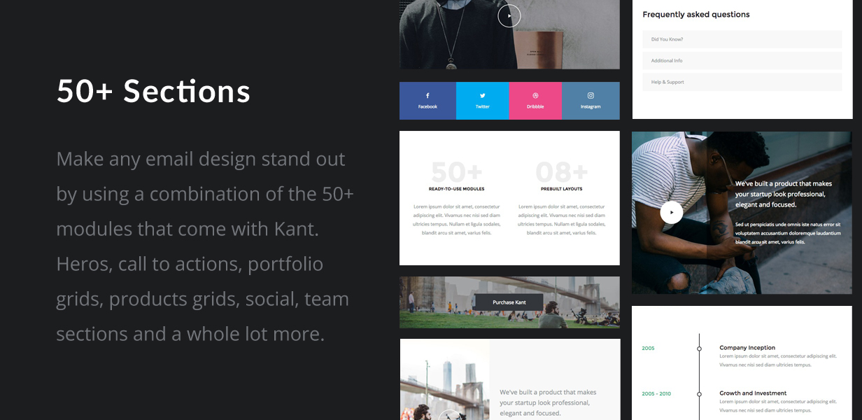 Kant - Responsive Email for Startups: 50+ Sections + MailChimp + Mailster + Shopify Notifications - 4